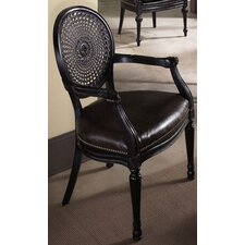 Hidden Treasures Woven Cane Back Leather Arm Chair