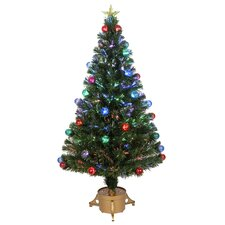 Fiber Optic 4' Green Artificial Christmas Tree with LED Muticolor Light with Ornaments and Stand