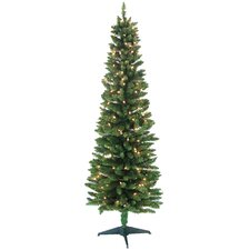 Pencil 6' Green Artificial Christmas Tree with 200 Pre-Lit Clear Lights