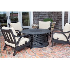 Lombok 5 Piece Gas Fire Pit Chat Seating Group