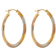 Tri-Color Hoop Earrings