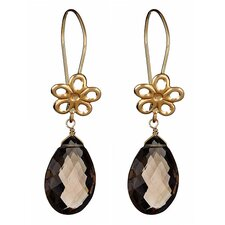 Flower Pear Cut Quartz Drop Earrings