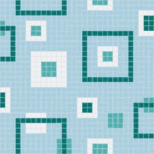"<strong>Mosaic Loft</strong> Urban Essentials 24"" x 24"" Balanced Squares Mosaic Pattern Tile in Deep Teal"