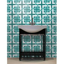 "Urban Essentials 12"" x 12"" Woven Lattice Mosaic Pattern Tile in Deep Teal"