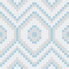 "Urban Essentials 12.48"" x 12.48"" Glass Funky Diamond Mosaic Pattern Tile in Breeze Blue"