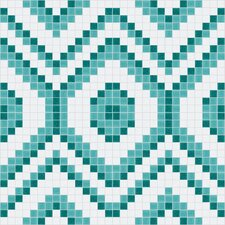 "<strong>Mosaic Loft</strong> Urban Essentials 24"" x 24"" Funky Diamond Mosaic Pattern Tile in Deep Teal"
