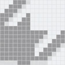 "Urban Essentials 12"" x 12"" Houndstooth Mosaic Pattern Tile in Calm Grey"