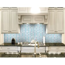 "Urban Essentials 12.48"" x 12.48"" Glass Marimba Mosaic Pattern Tile in Breeze Blue"