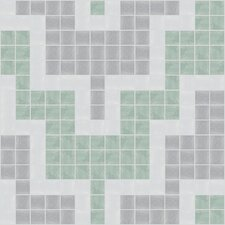 "Urban Essentials 12"" x 12"" Stepped Chevron Mosaic Pattern Tile in Placid Turquoise"