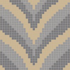 "Urban Essentials 12.48"" x 12.48"" Glass Stylized Chevron Mosaic Pattern Tile in Placid Turquoise"