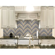 "Urban Essentials Stylized Chevron 3/4"" x 3/4"" Glass Glossy Mosaic in Placid Turquoise"