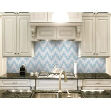 "Urban Essentials Stepped Chevron 3/4"" x 3/4"" Glass Glossy Mosaic in Breeze Blue"