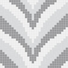 "Urban Essentials 12.48"" x 12.48"" Glass Stylized Chevron Mosaic Pattern Tile in Calm Grey"