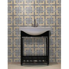 "Urban Essentials Woven Lattice 3/4"" x 3/4"" Glass Glossy Mosaic in Urban Khaki"