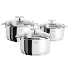 Casteline Pot Set with Lid and Optional Handle (Set of 3)