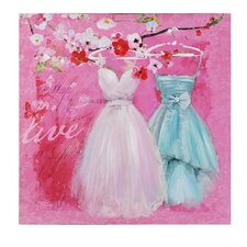 Dresses Painting Print on Canvas in Light Pink, White and Blue