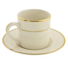 Cream Double Gold 3 oz. Teacup and Saucer (Set of 6)