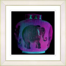"""Elephant Urn"" by Zhee Singer Framed Giclee Print Fine Art in Purple"