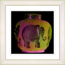 """Elephant Urn Golden"" by Zhee Singer Framed Giclee Print Fine Art in Orange"
