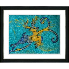 """Reindeer - Turquoise"" by Zhee Singer Framed Fine Art Giclee Painting Print"