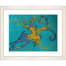 """Reindeer - Turquoise"" by Zhee Singer Framed Fine Art Giclee Print"
