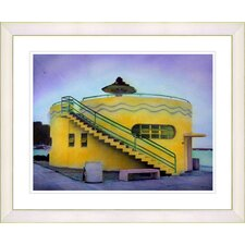 """Yellow Beach House"" by Mia Singer Framed Fine Art Giclee Print"