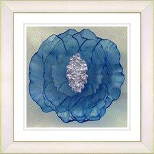 """Crystal Flower - Blue"" by Zhee Singer Framed Fine Art Giclee Print"