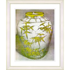 """Bamboo Urn - Yellow"" by Zhee Singer Framed Fine Art Giclee Print"