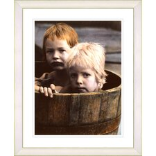 """Brothers in a Tub"" by Mia Singer Framed Fine Art Giclee Print"