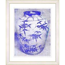 """Bamboo Urn - Blue"" by Zhee Singer Framed Fine Art Giclee Print"