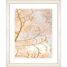 """Filigree Flower Branches - Orange"" by Zhee Singer Framed Fine Art Giclee Print"