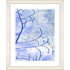 """Filigree Flower Branches - Blue"" by Zhee Singer Framed Fine Art Giclee Print"