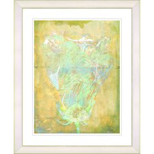 """Yellow Dansing Bud - Mint Green"" by Zhee Singer Framed Fine Art Giclee Print"