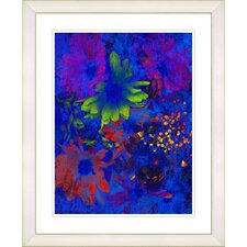 """Blue Abstract Daisies - Green"" by Zhee Singer Framed Fine Art Giclee Print"