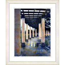"""""""Rainy Pillared Walkway"""" by Mia Singer Framed Fine Art Giclee Photographic Painting Print"""