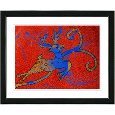 """Reindeer - Red"" by Zhee Singer Framed Fine Art Giclee Painting Print"