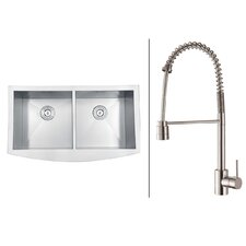 "36"" x 21"" Kitchen Sink with Faucet"