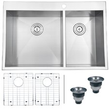 "Tirana 33"" x 22"" Drop-in Double Bowl Kitchen Sink"