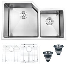 "Gravena 33"" x 20"" Undermount Double Bowl Kitchen Sink"