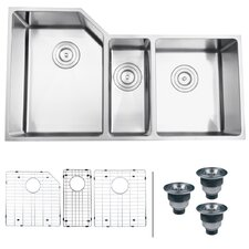 "Gravena 33.75"" x 19.13"" Undermount Triple Bowl Kitchen Sink"