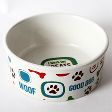 "Lucky Dog ""I Bark for Treats"" Stoneware Dog Bowl"