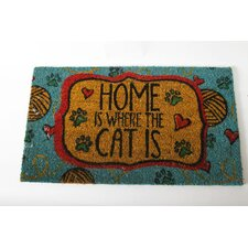 "<strong>DEI</strong> Mr. Snugs ""Home Is Where the Cat Is"" Cat Expressions Coir Rug"
