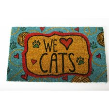 "Mr. Snugs ""We Love Cats"" Cat Expressions Coir Rug"