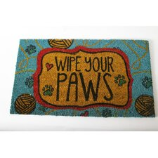 "Mr. Snugs ""Wipe Your Paws"" Cat Expressions Coir Rug"