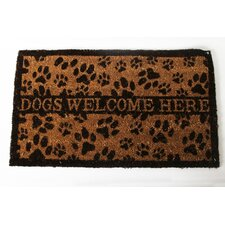 "Lucky Dog ""Dogs Welcome Here"" Expressions Coir Rug"