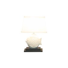 "Ceramic Fish15.5"" H Table Lamp with Drum Shade"