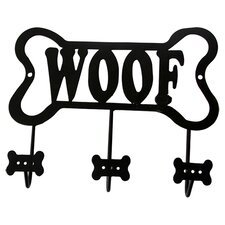 "Lucky Dog Bone Shaped ""Woof"" Leash Wall Hook Rack"