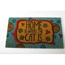 "Mr. Snugs ""Home Is Where the Cat Is"" Cat Expressions Coir Rug"