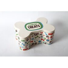 Lucky Dog Ceramic Bone Treat Jar