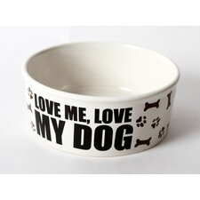 "Just Dogs ""Love Me, Love My Dog"" Stoneware Dog Bowl"
